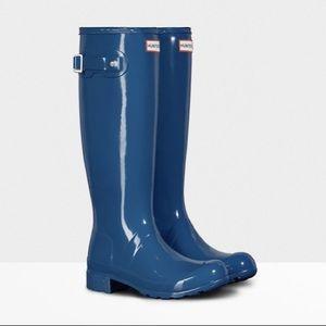 NEW • Hunter • Tour Packable Tall Gloss Rain Boots